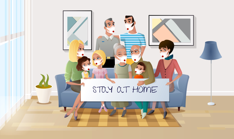 Quarantined Family Stay at Home During Pandemic Illustration