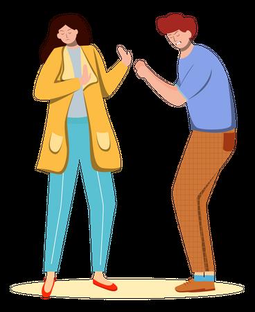 Quarrel  between couple Illustration