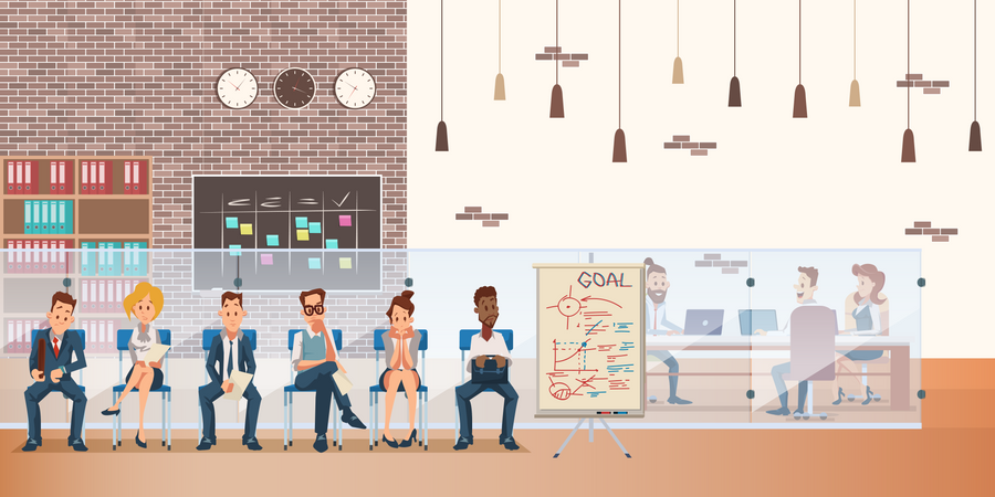 Queue of Candidate sitting on Chair Waiting for Job Interview Illustration