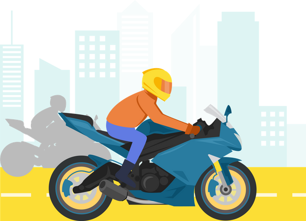 Racing Motor in the city Illustration