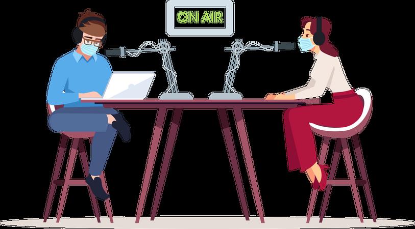 Radio podcast in coronavirus pandemic Illustration