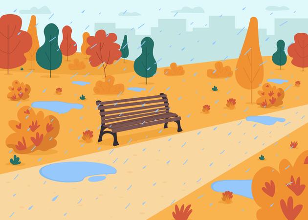 Rain in autumn park Illustration