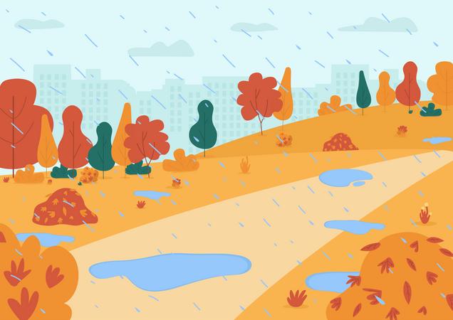 Rain in park Illustration
