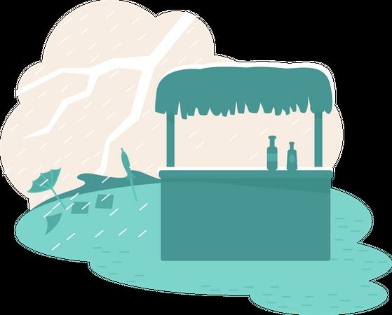 Rain natural disaster Illustration