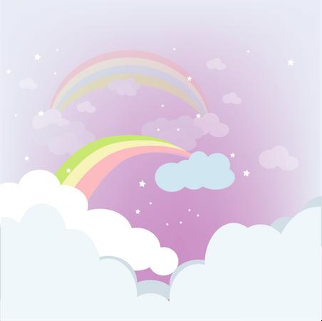 Rainbow With Purple Clouds Illustration