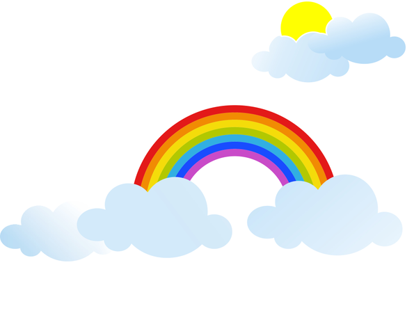 Rainbow With Sun And Clouds Illustration