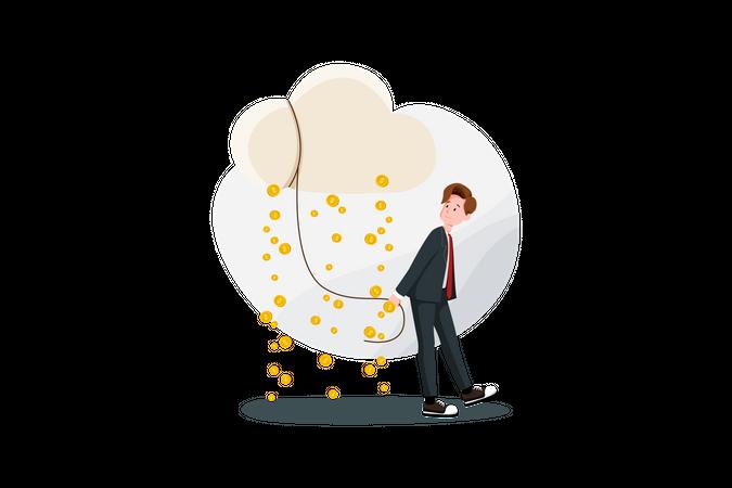 Raining income or profit money Illustration