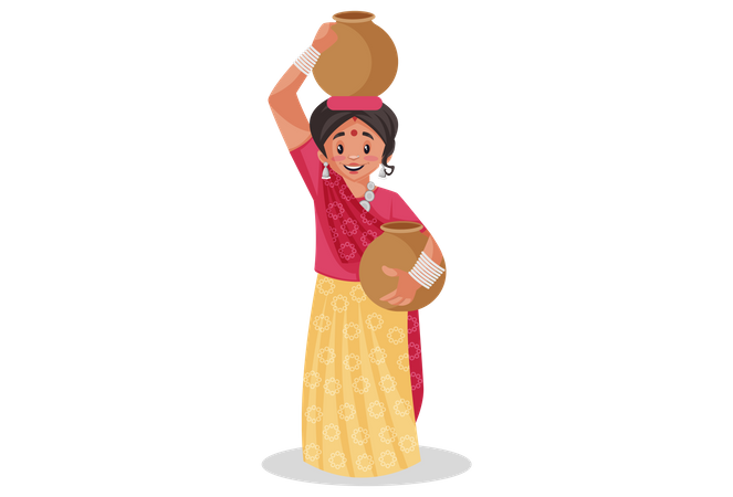 Rajasthani woman carrying clay water pots Illustration