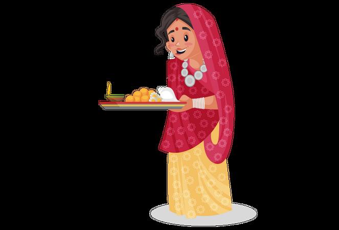 Rajasthani woman doing worship of god Illustration