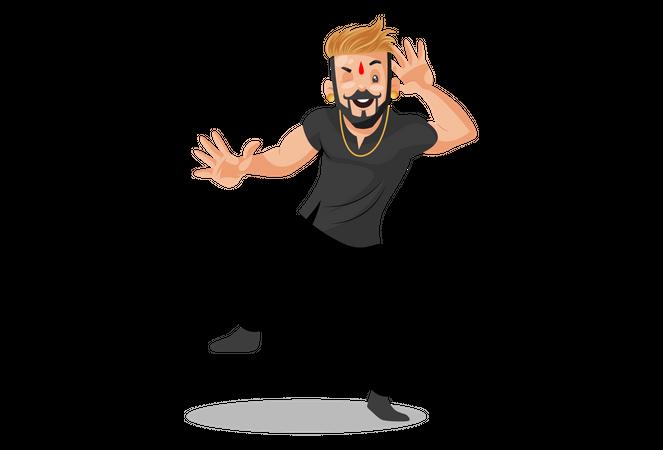 Rajput man is dancing Illustration