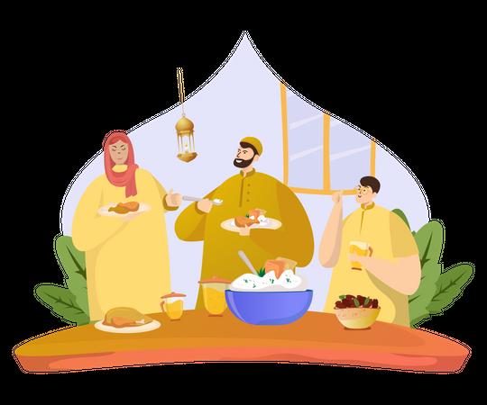 Ramadan iftar party Illustration