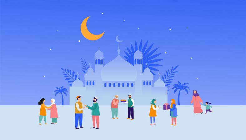 Ramadan Kareem, Eid mubarak Illustration