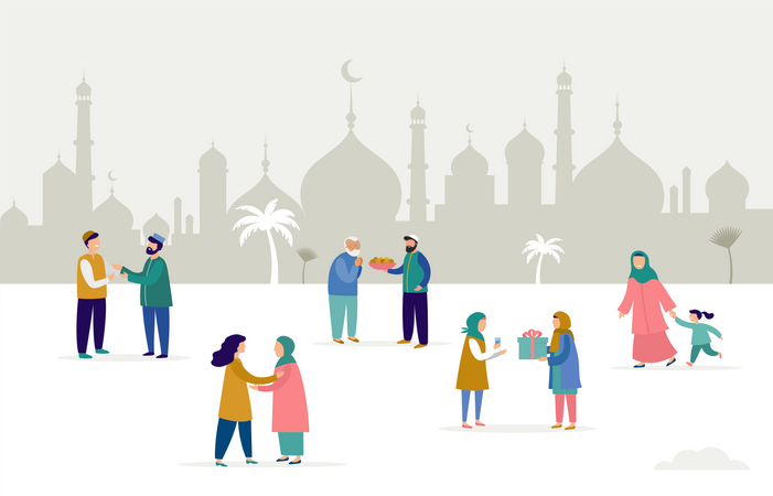 Ramadan Kareem, Eid mubarak, greeting card and banner with many people, giving gifts, food. Men, women and children walking on the street. Islamic holiday background. Vector illustration Illustration