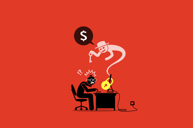 Ransomware locking a computer and asking for money Illustration