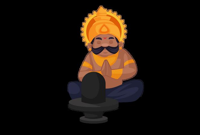 Ravan praying to Lord Shiva Illustration