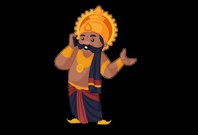 Ravan talking on mobile Illustration
