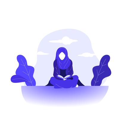 Read Quran Muslimah Islam Praying illustration flat design Illustration