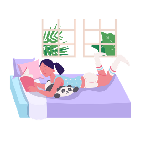 Reading A Book Illustration