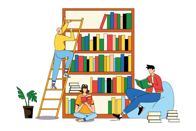 Reading Book at Library Illustration