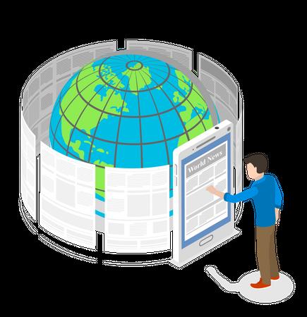 Reading World News Through Smartphone Application Illustration