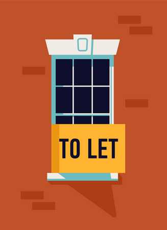 Real estate apartment renting market with window with To Let sight on it Illustration
