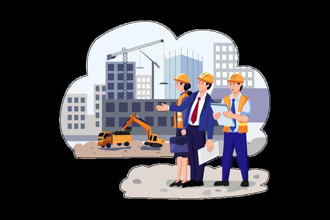 Real estate developer checking work of building Illustration