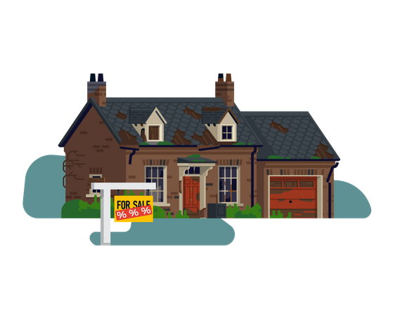 Realty and property market with abandoned house on sale with a great discount Illustration
