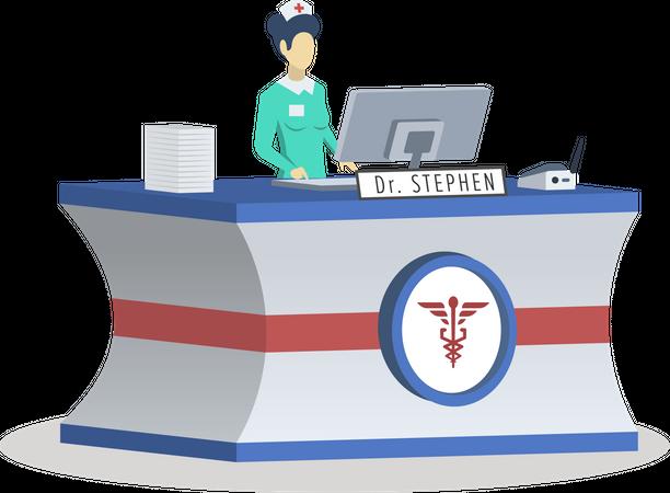 Receptionist at medical center Illustration