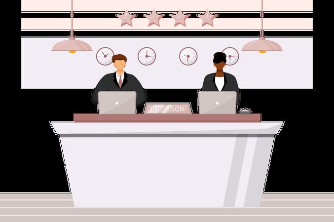 Receptionists at front desk Illustration
