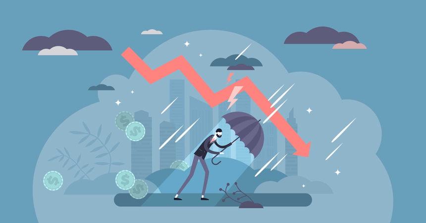 Recession financial storm concept Illustration