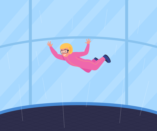 Recreational wind tunnel skydiving Illustration