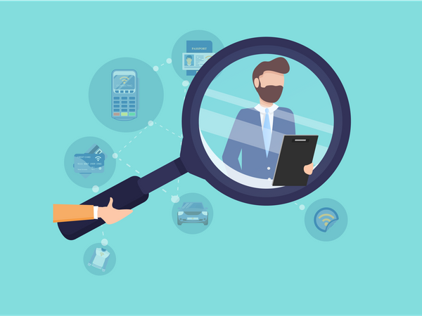 Recruiter standing with Hiring list in his hand Illustration