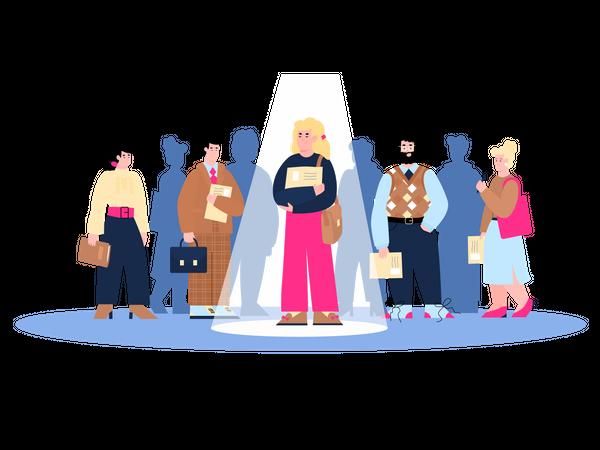 Recruitment and employment, staff hiring concept Illustration