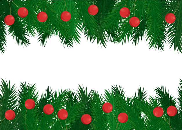 Red Balls on Green Spruce Branches Vector Frame Illustration