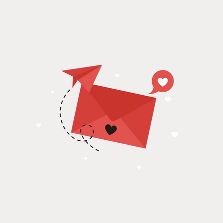 Red Letter With Heart Illustration