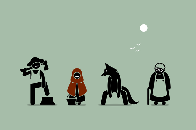 Red Riding Hood, Wolf, Lumberjack, and Grandmother Characters in Stick Figure Pictogram Illustration