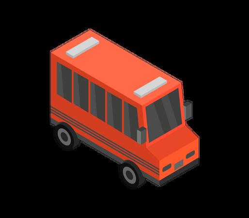 Red School Bus Illustration