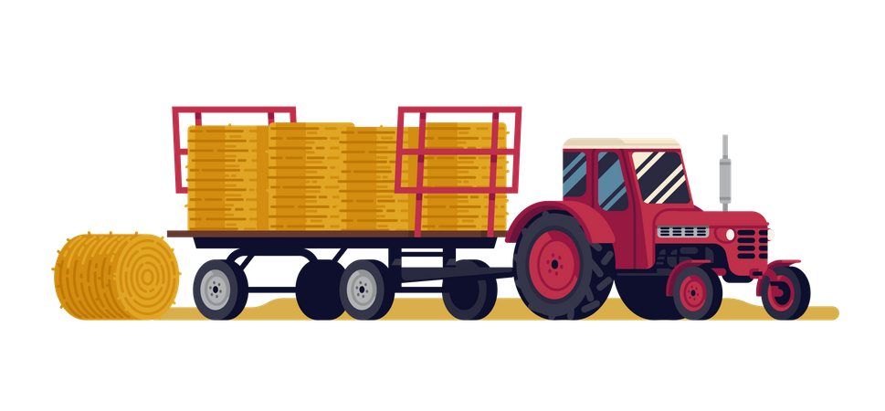 Red tractor pulling an articulated trailer loaded with round hay bales Illustration
