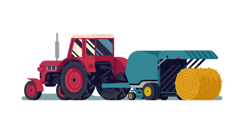 Red tractor pulling round baler with hay bale rolling out Illustration