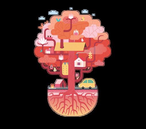 Red Tree House Illustration
