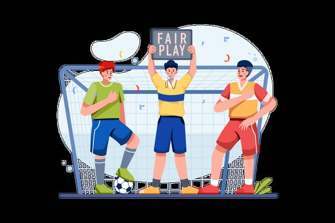 Referee giving fair play strike Illustration