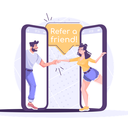 Referral Marketing Social Media Post Illustration