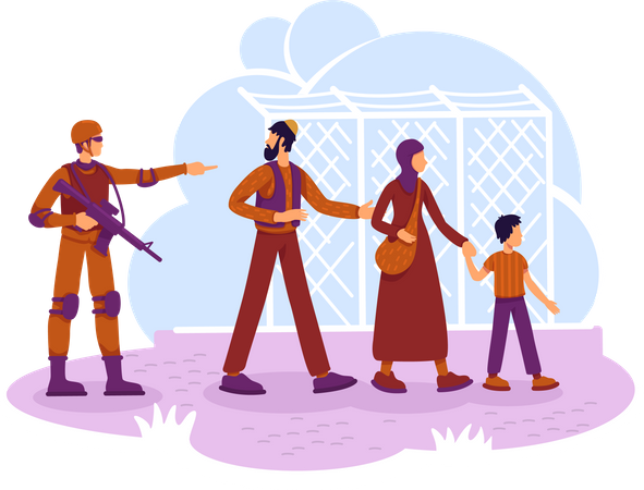 Refugees and guard Illustration