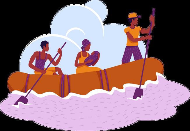 Refugees in boat Illustration