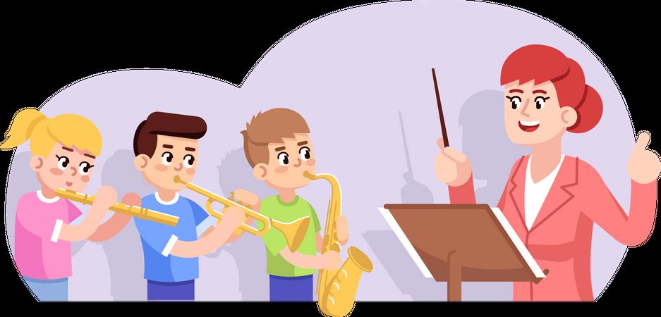 Rehearsal of children orchestra Illustration