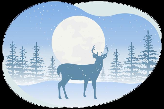 Reindeer standing in snowfall Illustration