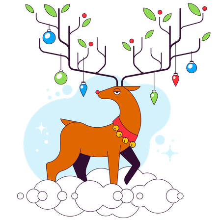 Reindeer with ornaments on horn Illustration