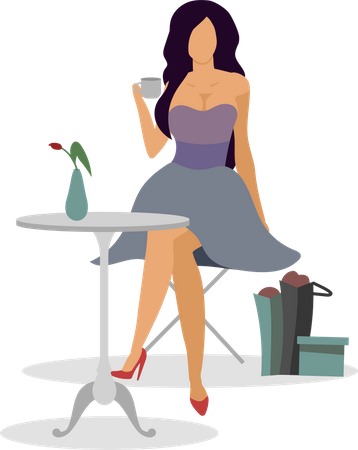 Relax in cafe after shopping Illustration