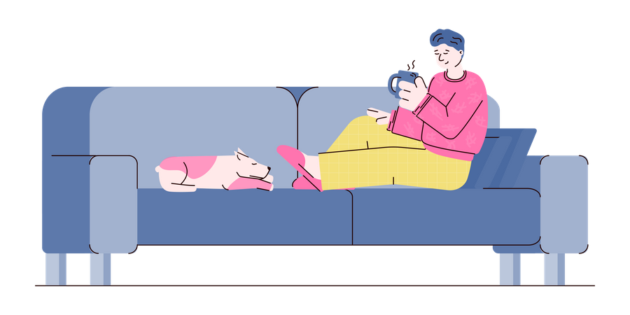 Relax with your dog Illustration