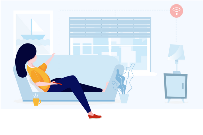 Relaxation at house with technology concept Illustration
